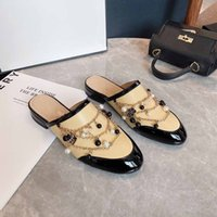Designer Luxury half covered slippers Apricot Leather flat bottom CALFSKIN FLAT SLIDE CHAIN pearl ROMAN SANDALS Best Quality With Box