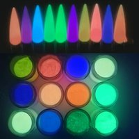 Nagelglitter 12 Gläser (12colors Pulver) farbiges Glühen im dunklen Acryltauchen für Nägel glühen-in-the-dark