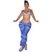Womens 디자이너 밴지 긴 바지 불규칙 인쇄 인과 와이드 다리 바지 중반 허리 패션 여성 의류