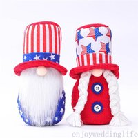 Day de l'indépendance Gnome patriotique Stars américaines et Stripes Poupée naine à la main 4ème de juillet Jouets enfants Accueil Tabletop Décoration
