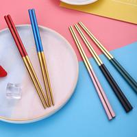 Eetstokjes 1 Paar Roestvrij staal Non-Slip Ronde High-End Servies Restaurant Laser Graveur Koreaanse Keukenbenodigdheden