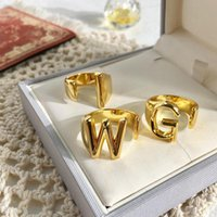 Cluster Rings High Quality Brand Jewelry Gold ABC Capital Letter Name Exquisite Glossy Free Cuff Adjustable Knuckle Ring For Women