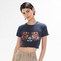 2021 새로운 레트로 세련된 만화 프린트 여성 티 여름 오 넥 짧은 소매 섹시 슬림 자르기 탑 BOHO 빈티지 캐주얼 티셔츠 여성 Y9J2