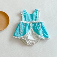 Ins 2021 Estate Nuova Baby Girl Girl Gilet Lace Romper Rompere Infantile in cotone senza maniche Dress Sweet Sweet Byddler Sleeve Sleeve Sleeve Slip Abiti C6833