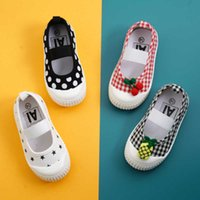 봄 여름 소녀 스퀘어 입 신발 유아 어린이 체리 과일 폴카 도트 캔버스 신발 아기 유아 키즈 소프트 바닥 아파트 X0703