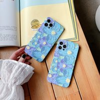 Blue-purple flowers TPU phone cases for iphone 13 pro max 12 11 X XR XS 7 8 plus SE case cover