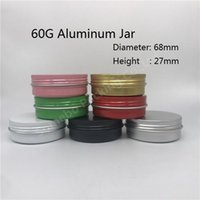 10 pçs / lote 60g frascos de alumínio vazio maquiagem cosmética creme labelo labelo metal recipientes de lata de alumínio roxo vermelho vermelho frascos