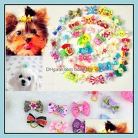 Apparel Supplies Home & Garden Mix Designs Rhinestone Pearls Style Pet Bows Dog Hair Aessories Grooming Products Cute Gift 500Pcs Lot 0594 D