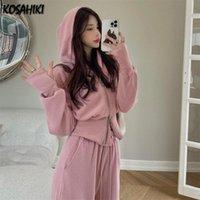 Women's Two Piece Pants KOSAHIKI Autumn Fashion Suit Female Cropped Hoodies Jacket High Waist Wide-leg Casual Two-piece Set Korean Trend Out