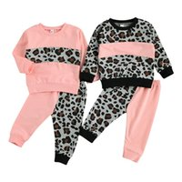 Clothing Sets 0-4 Yrs Girls Boys Suit Fall Baby Leopard Stitching Pullover Tops+Pants Infant Children Tracksuit