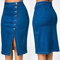 Skirts Women Fashion Denim Pencil Skirt High Waisted Blow Knee Blue Jeans Summer Jupe Femme 2021 Est