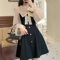 Casual Dresses Elegant Mini Party Dress Women Bow Lace Long Sleeve Black Vintage Sexy One Piece Korean 2021 Spring Chic