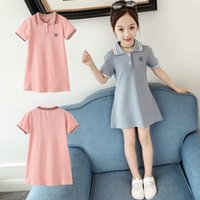 Summer Girl Dress Short Sleeve Big Children Dress Polo's Collar T-shirt Dress Fashion Casual 3t-12t Kids Dresses