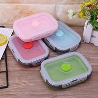 4x portátil Colapsible Dobrável Silicone Recipientes de Armazenamento Almoço Bento Box L74D