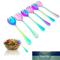 Colorful Pasta Fork Spoons Stainless Steel Salad Fork Colander Spoon Serving Flatware Mixing Scoop Christmas Tableware