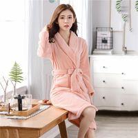 Women's Sleepwear Warm Robe Thick Coral Fleece Kimono Gown Pocket Autumn Winter Bathrobe Nightwear Soft Flannel Home Clothing