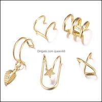 Jewelryc Şekli Klipsli Küpe Vida Geri Sier Altın Yıldız Yaprak Dangle Hoop Küpe Kadınlar Kulak Manşet Yüzükler Moda Takı Bırak Teslimat 2021