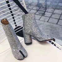 2021 Yeni Tabi Çizmeler Bölünmüş Toe Tıknaz Yüksek Topuk Kadın Çizmeler Deri Zapatos Mujer Moda Sonbahar Kadın Ayakkabı Botas Mujer1