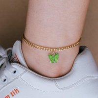 Schmetterlings-Charme-Fußkette-Kette Sommer-Strand Gold Knöchel-Ketten Fuß Armband Modeschmuck