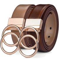 Bague réversible pour femmes en cuir double joint torceau rotate boucle de deux jeans de taille latérale par ceinture fine 211013