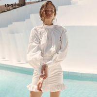 Casual Dresses 2021 Fashion White Mini Dress Sexy Backless Lantern Sleeve Bag Hip Women Celebrity Club Evening Party Vestoidos