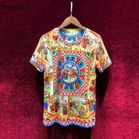 Svoryxiu летняя женская хлопковая футболка высокого качества взлетно-посадочная полоса барочная печать алмаз старинные женщины топ футболка 210306