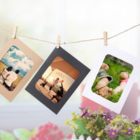 10 PCS 3InCH DIY KRAFT Papel Marco de fotos Colgando Fondos de pared Imagen Fradealbum Cuerda Clips Set Family Memory Creative DIY Decor