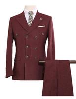 Tweed Hommes de Tweed Custom Ment Style Blu Britannique Blazer moderne de style Britannique 3 Pièces Hommes Costumes (veste + pantalon + gilet) costume personnalisé S-5XL