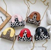 Children christmas party handbags kids leopard grain messenger bags purse girls metals chain single shoulder bag Q2325