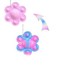 Doppelseitige drehende Gummi-Sonnenblume-Krawatte-Farbstoff-Feststoff-2-Farben Push-Pop-Blase-Popper sensorische Blumengesicht Wechselnder Schlüsselanhänger Keychain-Tasche Anhänger Puzzle G7938IB