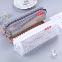 Bleistift-Taschen Einfache transparente Mesh-Tasche Pupillen 'Briefpapierkasten Aufbewahrungsstift-Tasche für Prüfungsbürobedarf