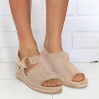 OEAK Клиньки Обувь Женщины Сандалии Шкалы Торридж Флоп Chaussures Клинья Сандалии V2WR #