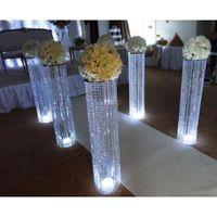Parti dekorasyon toptan elmas demir düğün beyaz mandap ve kristal takılmış fiber sütunlar