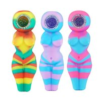 """Sexy Woman Smoking Pipes 4.1"""" Silicone Oil Burner Pipe Tobacco Pyrex Colorful Cute Bong With Removable Glass Bowl"""