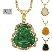 Groene jade sieraden, lachende Boeddha hanger ketting ketting voor vrouwen, roestvrij staal 18K vergulde, amulet accessoires Moederdag cadeau
