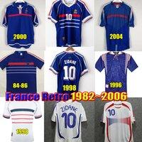 1998 레트로 Zidane Henry 축구 유니폼 Maillot Équipe de France 1982 1984 1996 2000 2002 2006 빈티지 축구 셔츠 Maillot equipe de 프랑스 유니폼