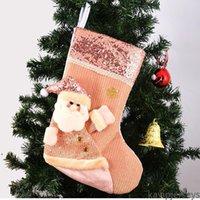 ABD Çorap Noel Ağacı Dekorasyon Çorap Pembe Sequins Noel Partisi Dekor Asılı Stocking Noel Baba Çocuk Hediye Şeker Çorap Çanta