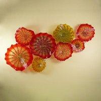 الإبداعية البرتقال اليد في مهب الزجاج زهرة مصباح لغرفة المعيشة الحديثة مورانو زجاج لوحة شنقا جدار الفن الديكور المنزل