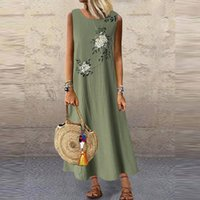 Casual Dresses Elegant Summer Women Dress Solid Maxi Women's Sundress Sleeveless Beach Boho Vestidos Female Abaya Robe Plus Size