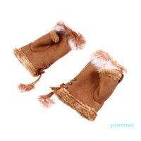 قفازات التزلج 1 زوج في المعصم الأيدي في الهواء الطلق تدفئة الشتاء نصف إصبع للفتيات