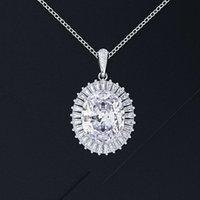 HBP Fashion Shi Pei Square Diamond Light Lighty Estilo de Lujo Topaz Natural Pendientes A Pendientes Azul Colgante Collar Conjunto