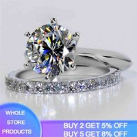 Amazing! Luxury 1.5 Ct Lab Diamond Weeding Ring Set Solid 925 Silver Wedding For Women Band Jewelry Stackable s 210610