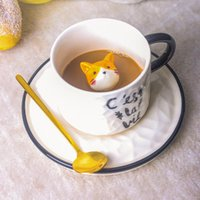 Mugs Creative Ceramics Mug With Spoon Tray Cute Cat Relief Coffee Milk Tea Handle Porcelain Cup Couple Water Novelty Gifts