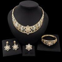 Boucles d'oreilles Collier Yulaili Mode Mariage Ensembles de bijoux de mariage doré Rhinestone Crystal Choker Dangle Bangle Bague Party Set
