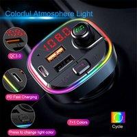 C13 Car Kit Bluetooth Беспроводной светодиодный автомобиль MP3-плеер FM-передатчик HandsFree Audio Reisever QC3.0 PD Быстрое быстрое зарядное устройство Dual USB зарядное устройство
