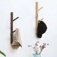 Hangers & Racks 4 Hooks Creative Wall Hanging Coat Rack North Europe Clothes Hanger Solid Wood Space Saving Bedroom Bag