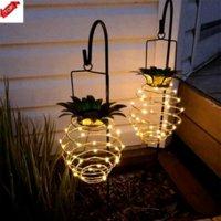DHL 운송 인공 식물 태양 정원 조명 파인애플 모양 태양열 가벼운 방수 벽 램프 요정 야간 조명 철 와이어 아트 홈 장식