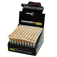 100 Pcs lot 78mm Cigarette Shape Smoking Pipes Mini Hand Tobacco Pipes Snuff tube Aluminum Ceramic Bat Accessories FY2343