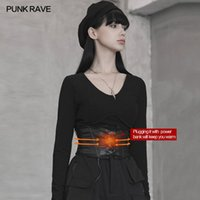 Punk rave femenino punk ángulo oscuro faja gótica novedad cargable funcional calefacción de cintura sello corsé cinturón guapo fresco
