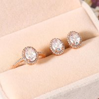 Earrings & Necklace Wedding Moissanite Jewelry Set For Women Bridal Engagement Silver Color Crystal Rings Aesthetic Mariage Jewellry S077